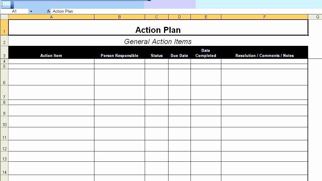 Excellent Action Plan Template Example In Ms Excel format
