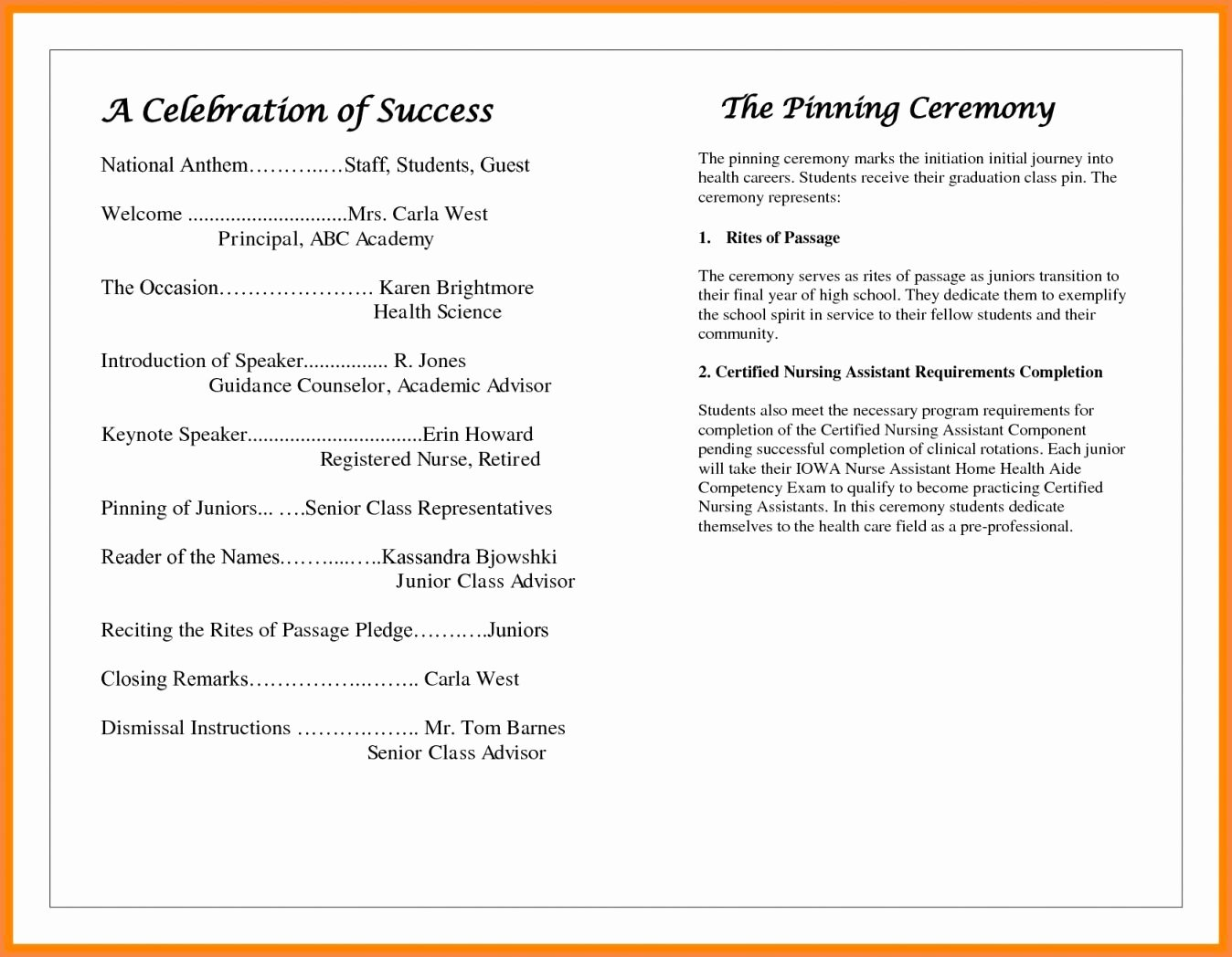 Excellent Awards Ceremony Program Sample Kd20
