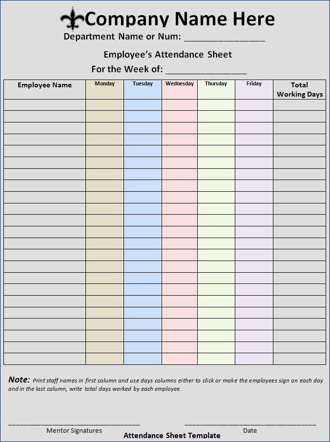 Excellent Employee attendance Sheet Template Example with