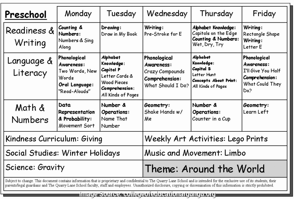 Excellent Preschool Program Template 17 Activity Lesson