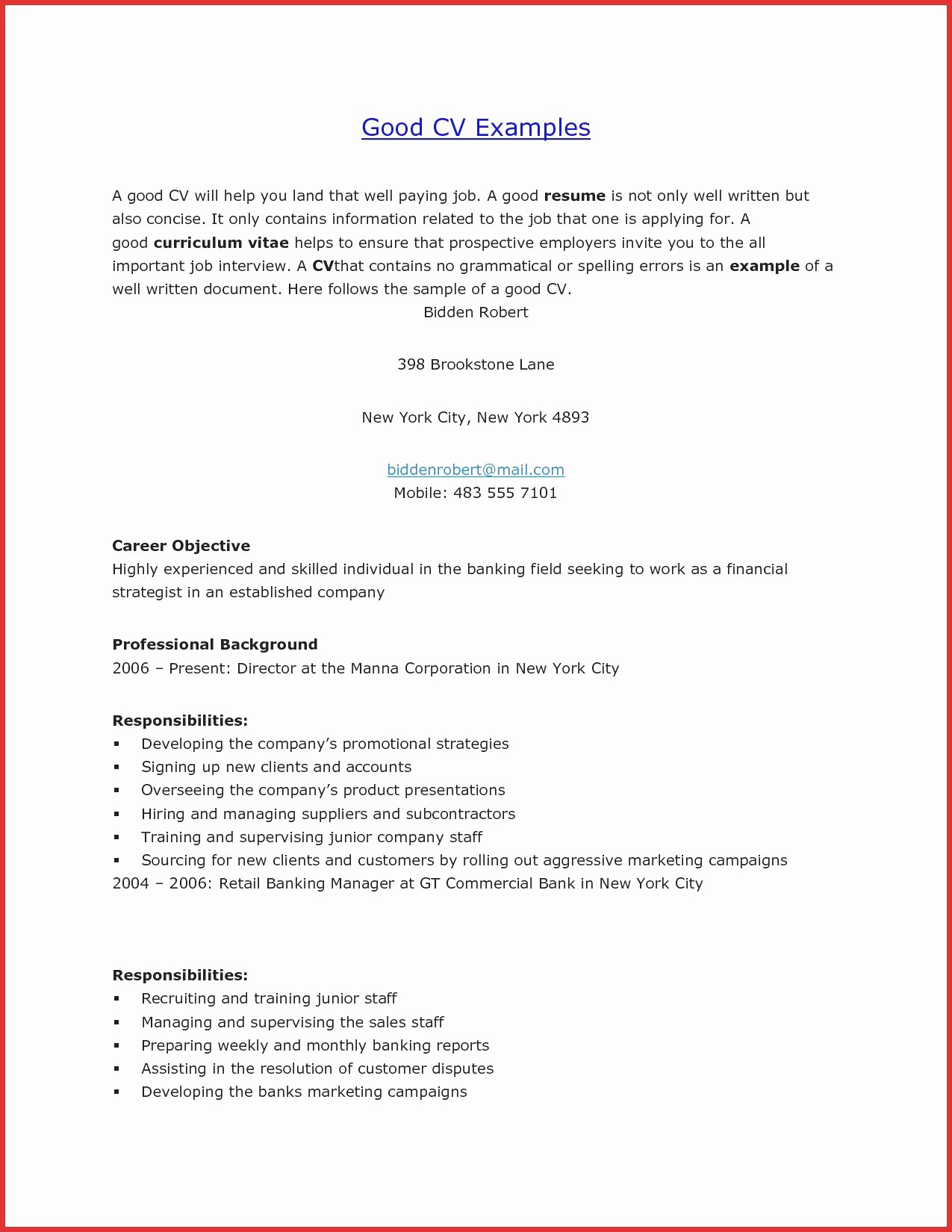 Excellent Resume Example Resume Template Easy