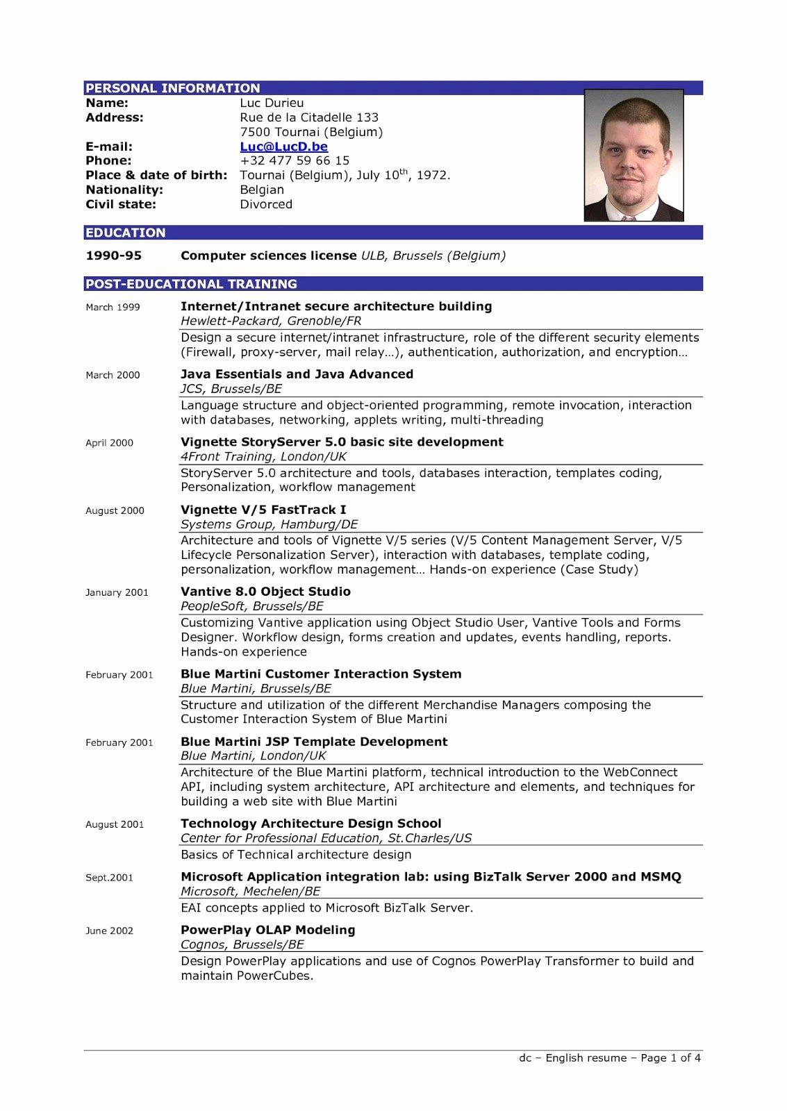 Excellent Resume Sample