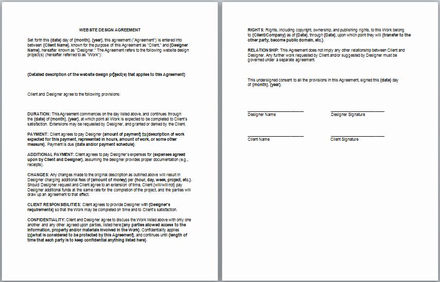 Excellent Template Sample for Website Design Agreement