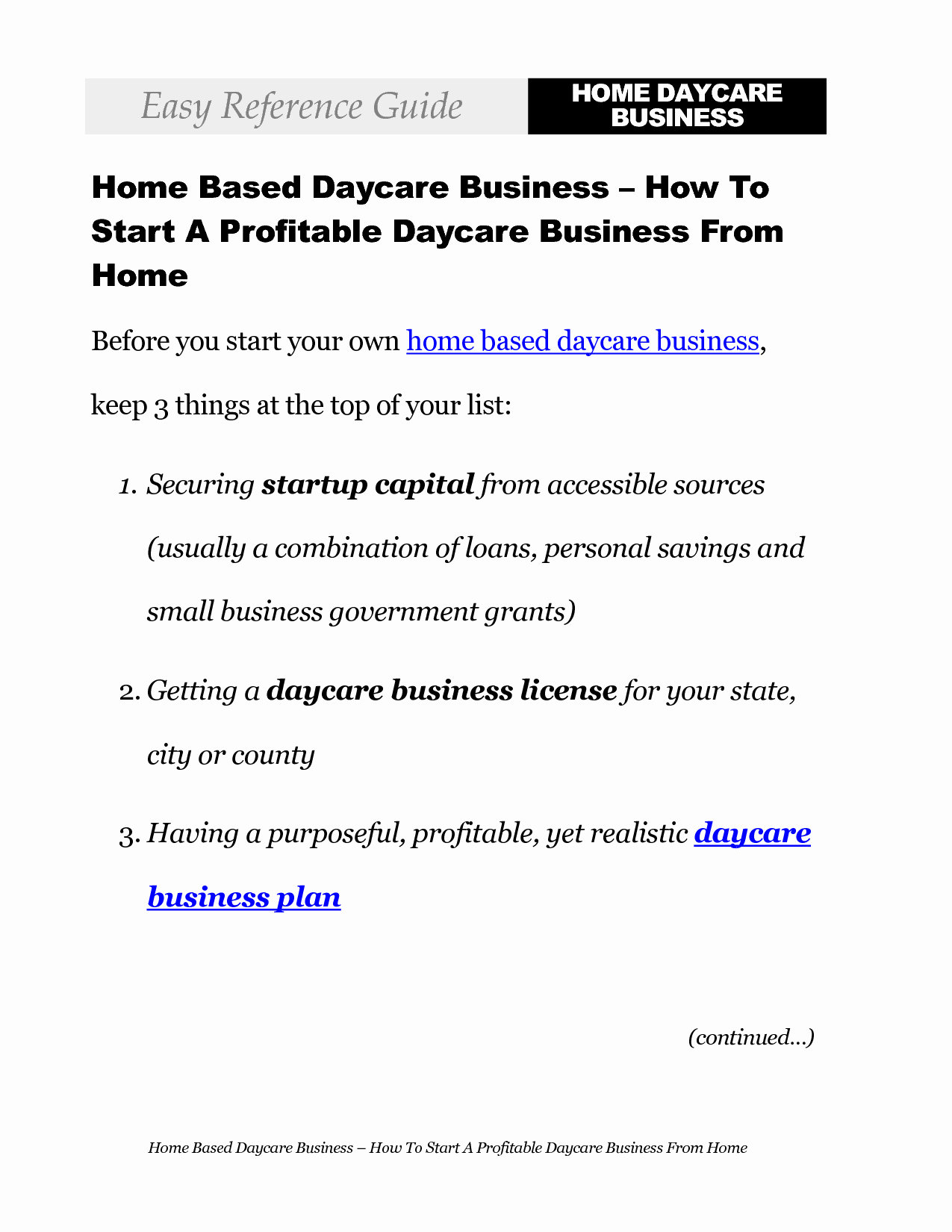 Exceptional Home Daycare Business Plan 10 Home Day Care