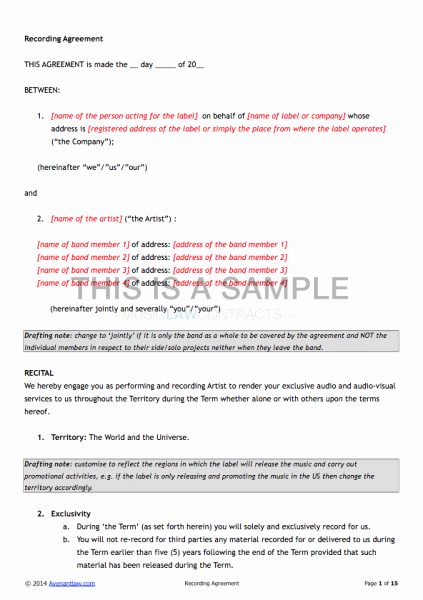 Exclusive Recording Contract Template