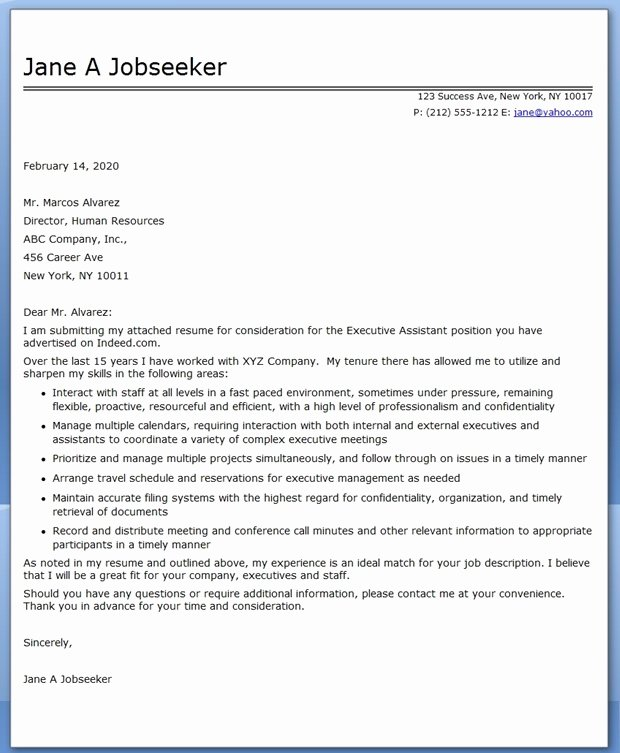 Executive assistant Cover Letter Samples