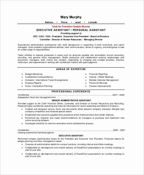 Executive assistant Job Description Resume Sample