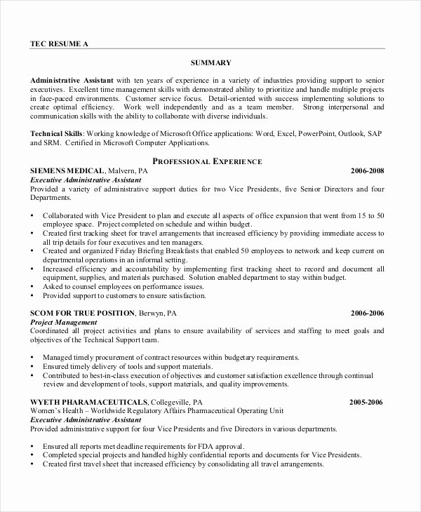 Executive assistant Resume 7 Free Word Pdf Documents