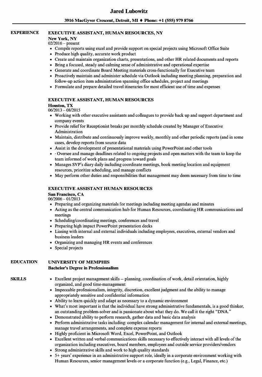 Executive assistant Resume Bullet Points Expert Executive