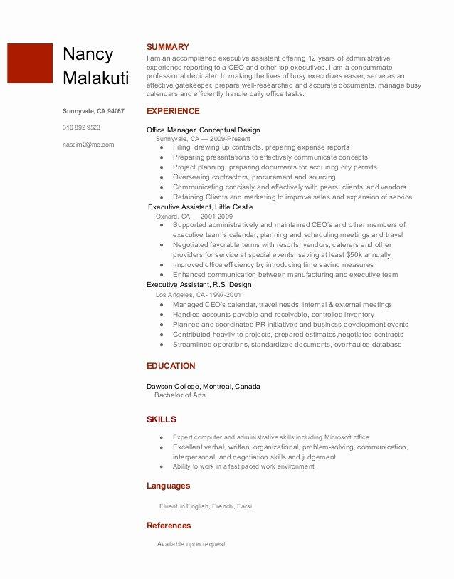 Executive assistant Resume Nancy Malakuti Google Docs