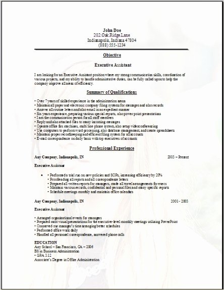 Executive assistant Resume Sample Occupational Examples