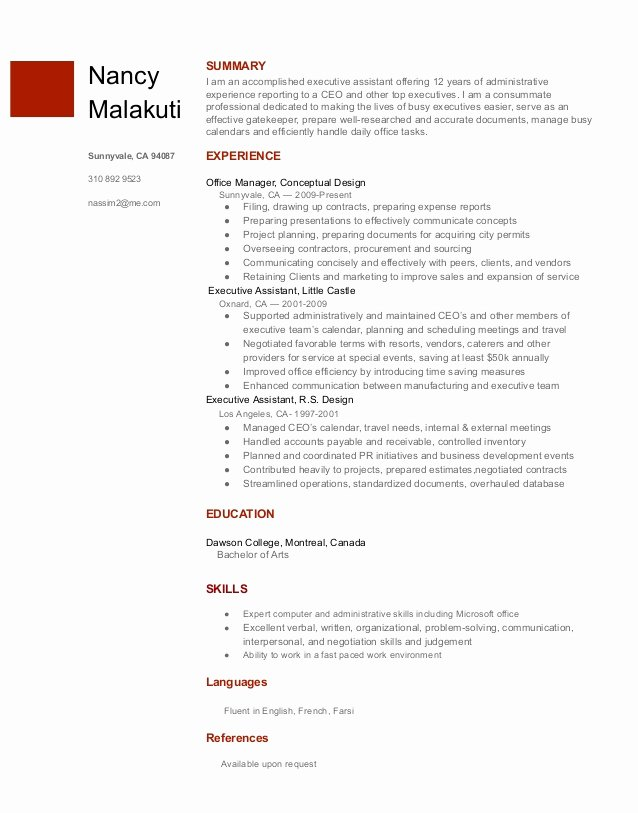 Executive assistant Resume Template From Google Docs
