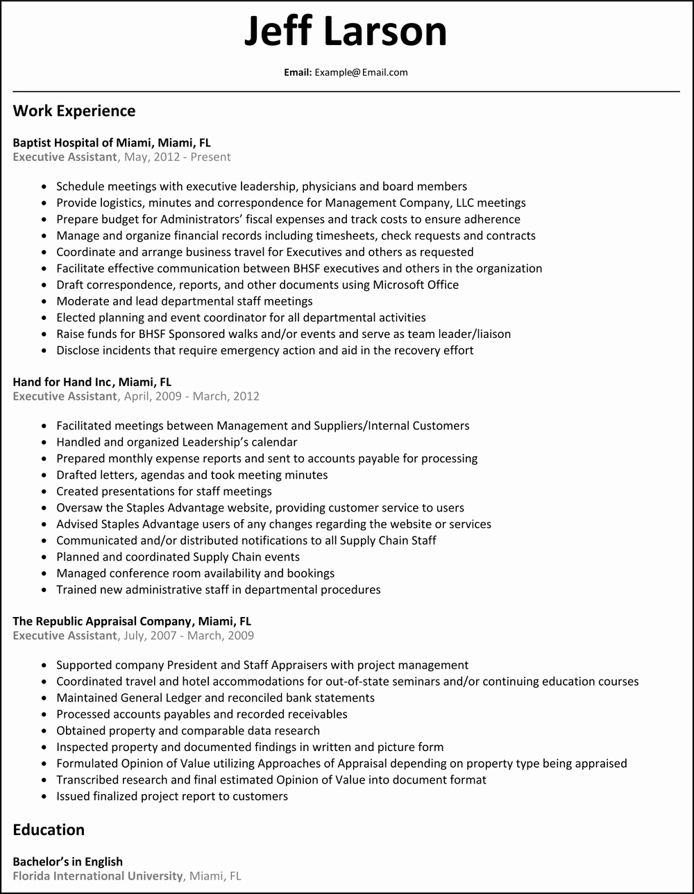 Executive assistant Sample Resume Cover Letter