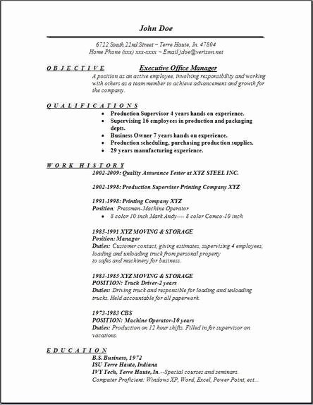 Executive Fice Manager Resume Occupational Examples