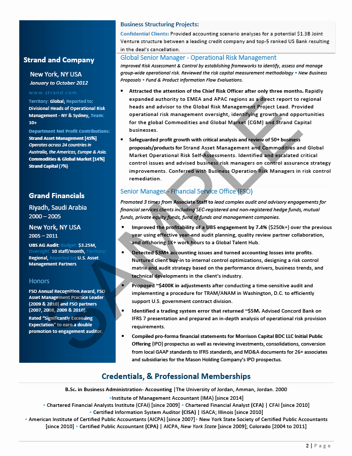 CFO Executive Resume Sample Private Equity