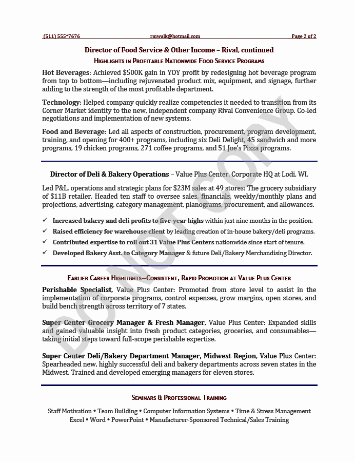 Executive Resume Sample