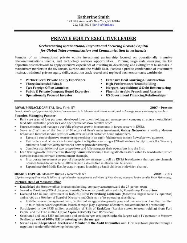 Executive Resume Samples Latter Example Template
