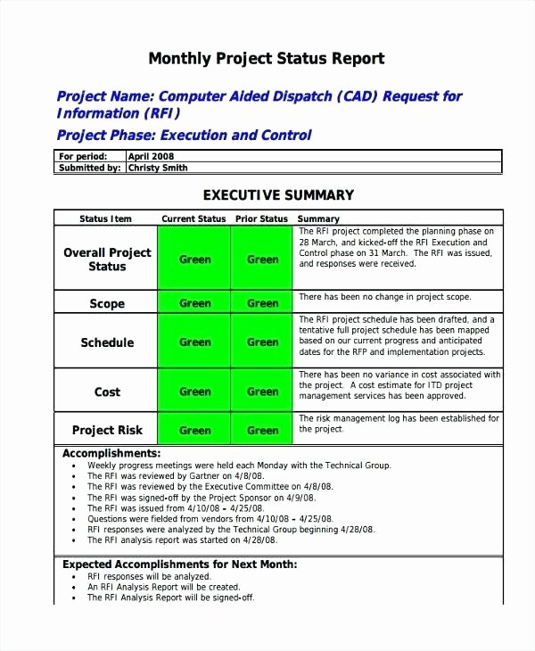 Executive Summary Report Template Status Examples the Best Example Ideas Resume and Program