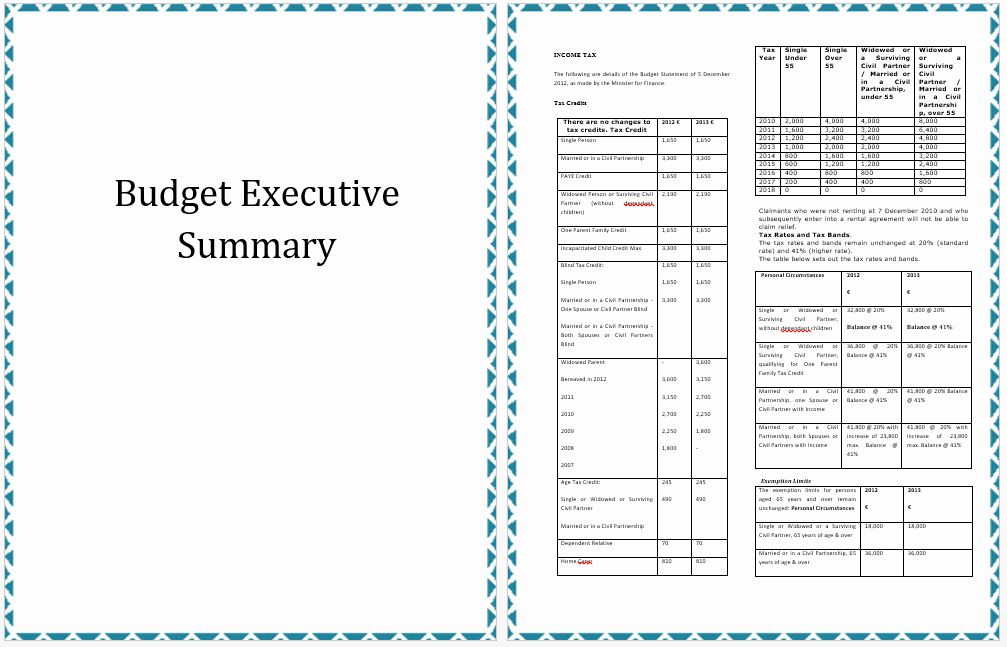 Executive Summary Template Of Annual Bud Planning