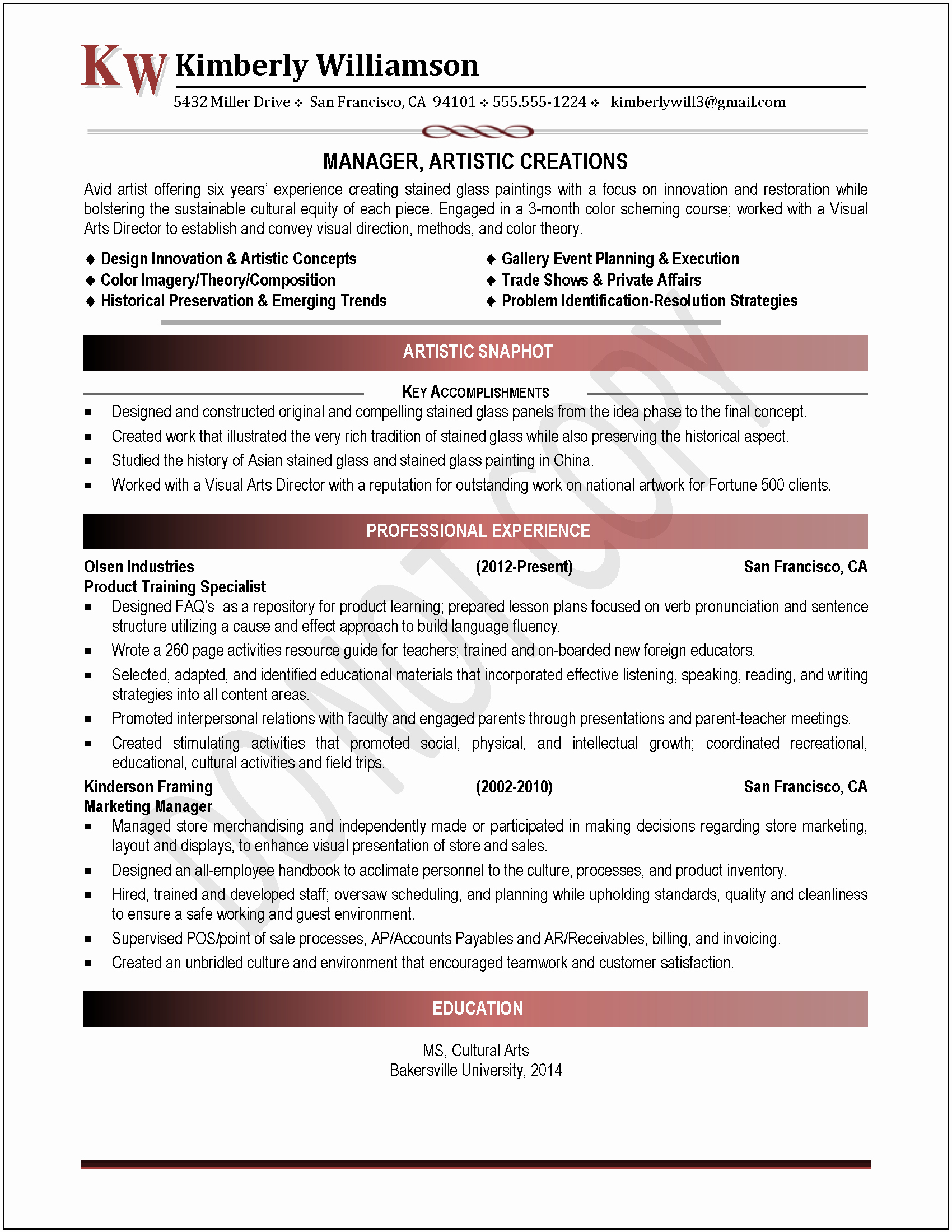 Exles Of Professional Resumes Search Results for
