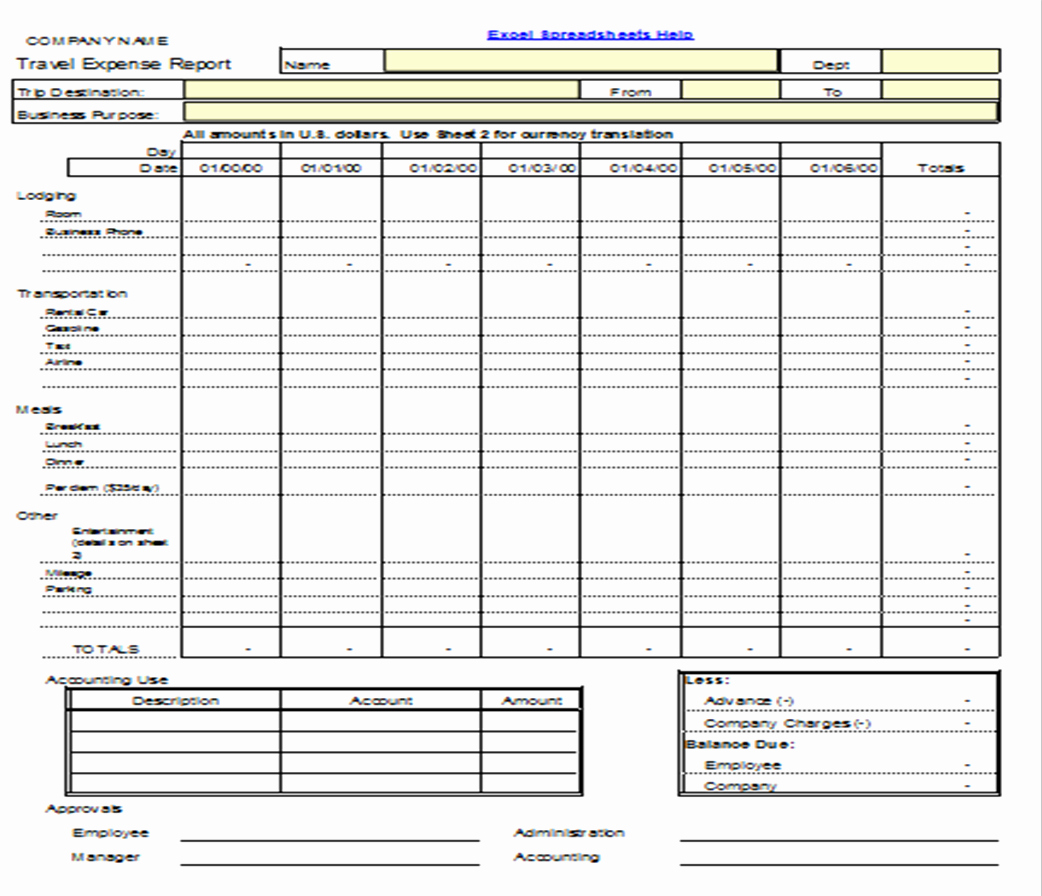 Expense form Template for Small Business Excel Expenses