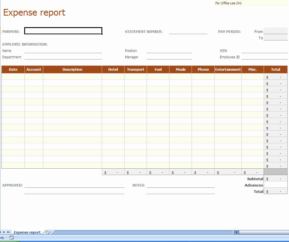 Expense Report Excel Template