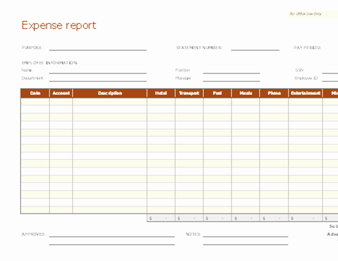 Expense Report Template Free Download Freemium Templates