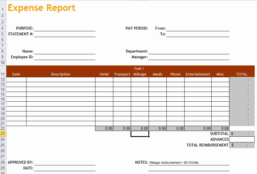 Expense Report Template In Excel
