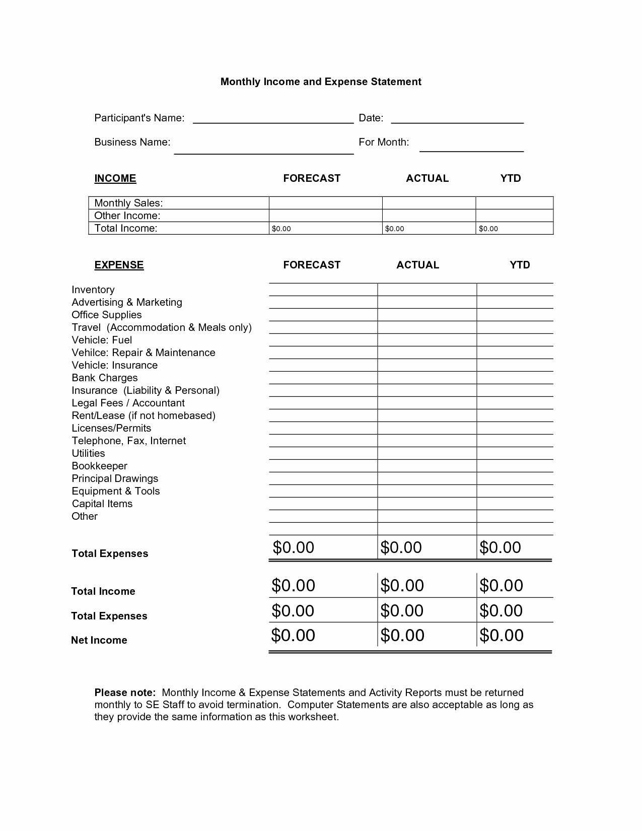 Expense Statement Template Best Template Collection