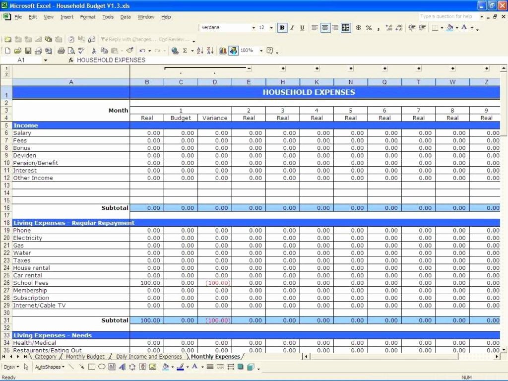 Expense Tracking Worksheet Excel Worksheets