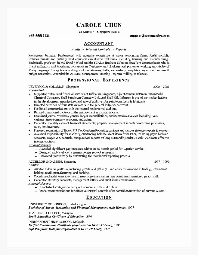 Experience A Resume Template