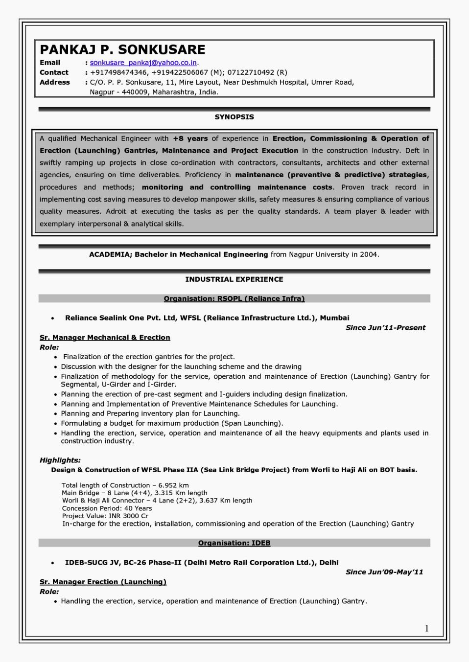 Experience Mechanical Engineer Resume