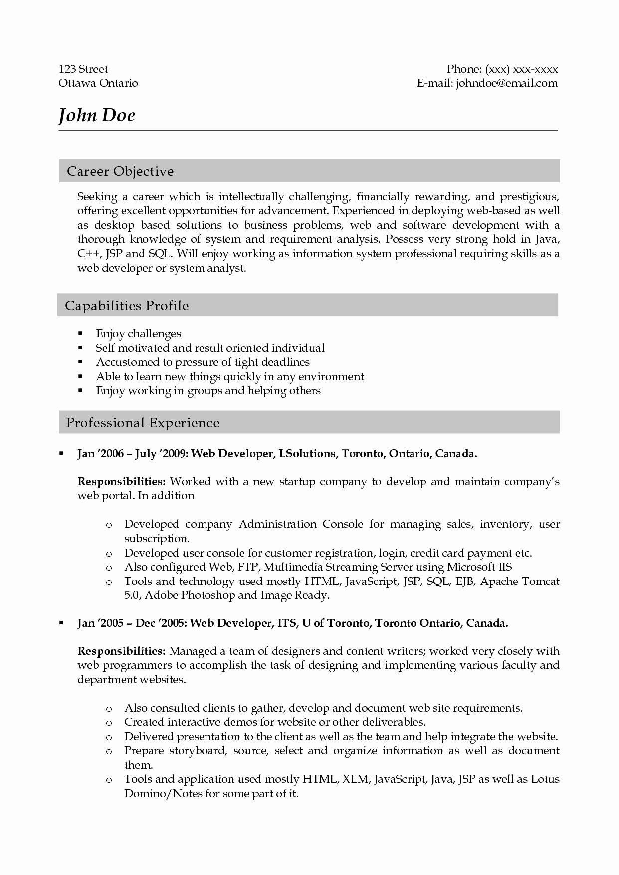 Experience Resume Sample for Web Developer Bongdaao