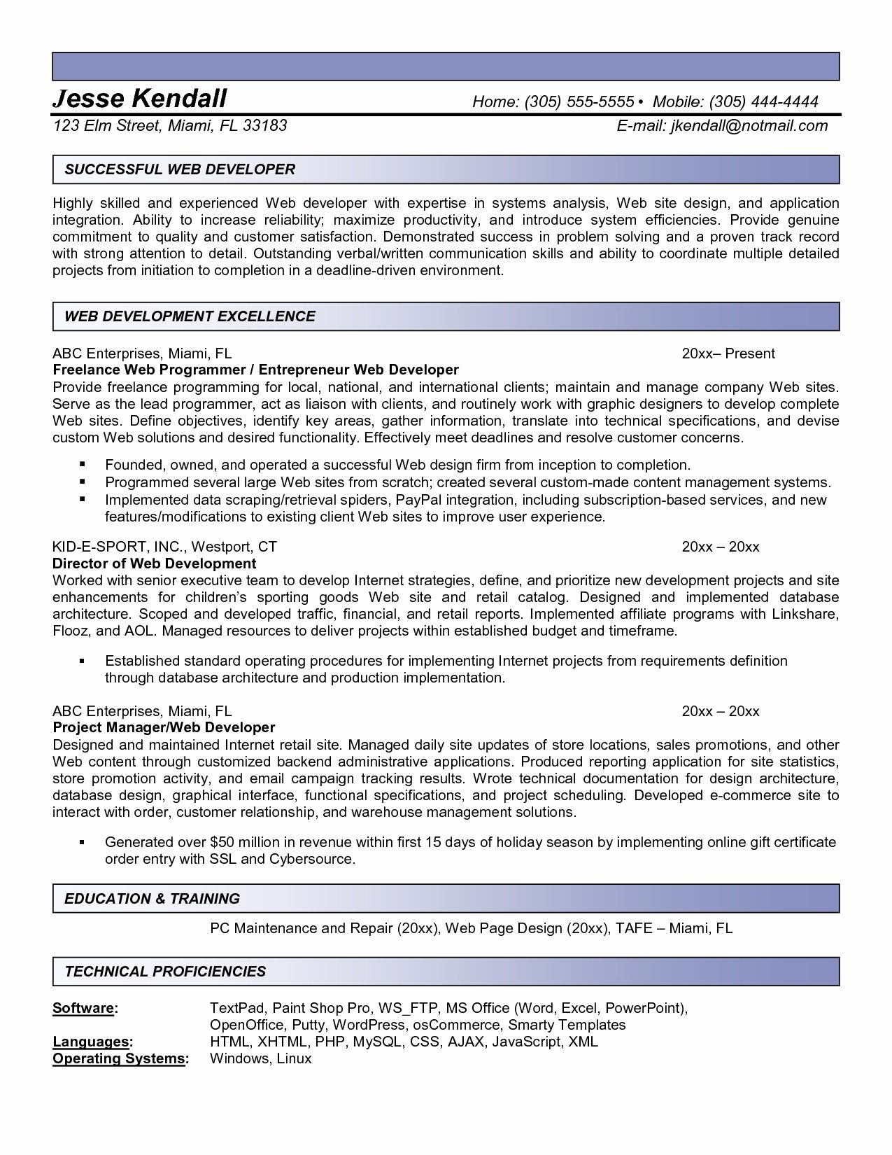 Experience Resume Sample for Web Developer Bongdaao