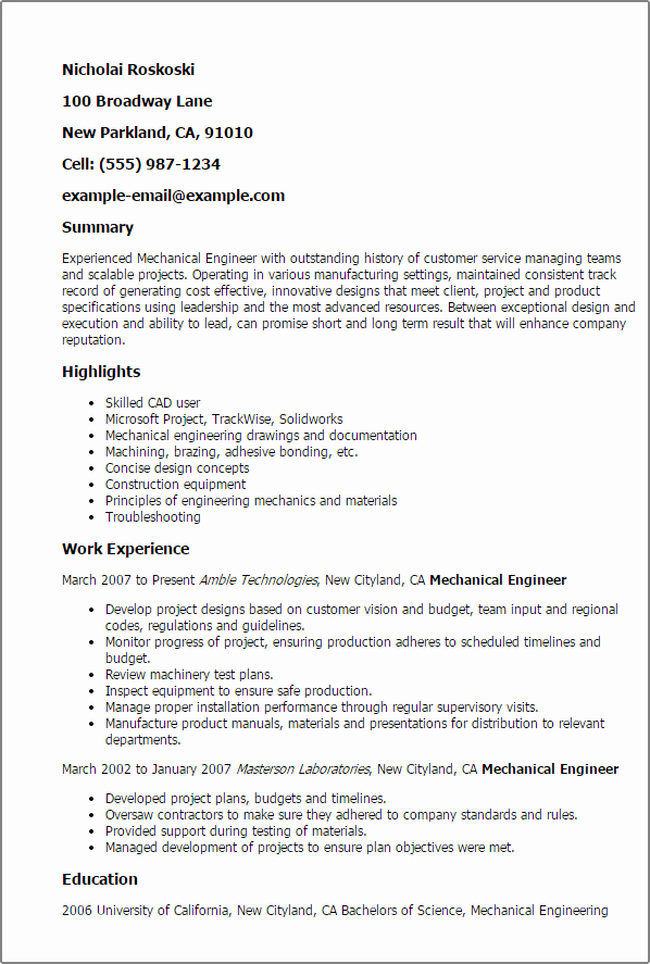 Experienced Mechanical Engineer My Perfect Resume