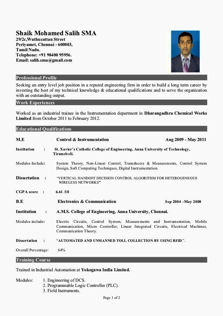 Experienced Mechanical Engineer Resume Doc
