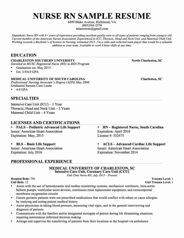 Experienced Nursing Resume … Nursing