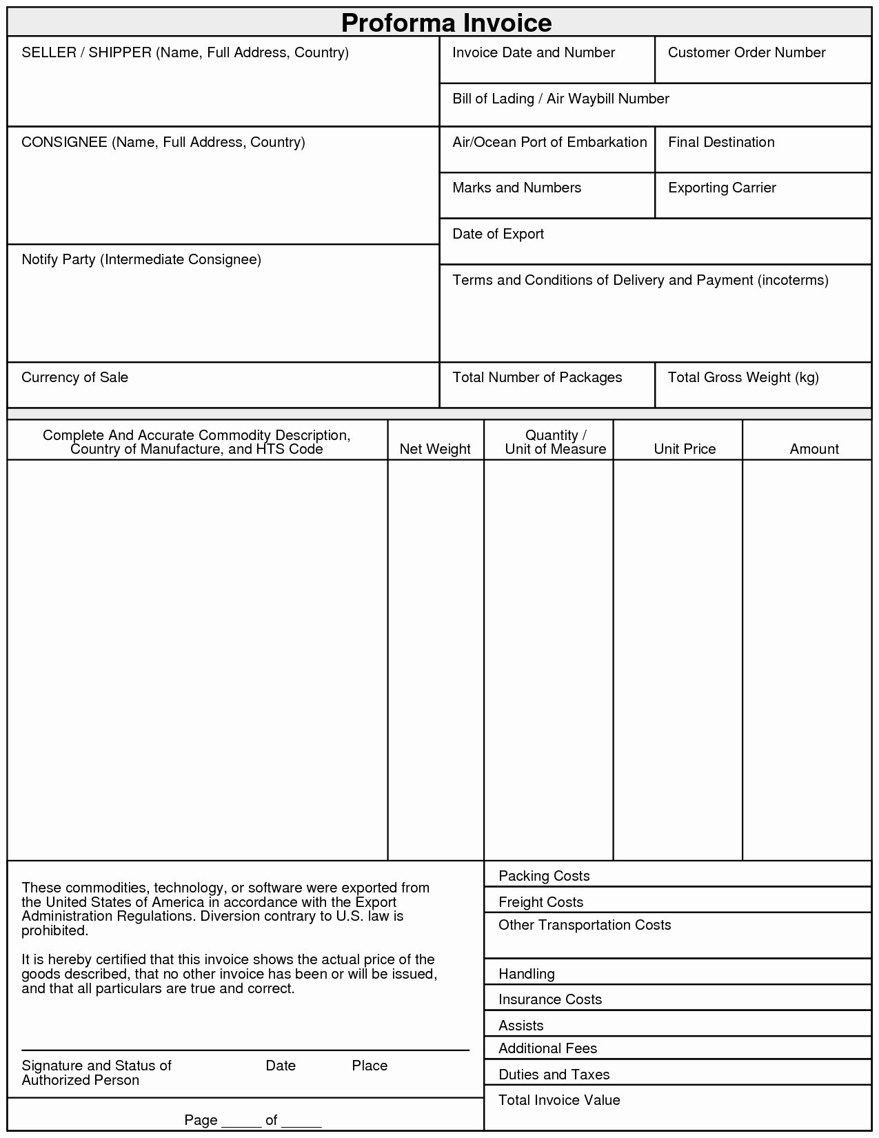 Export Proforma Invoice format Invoice Template Ideas