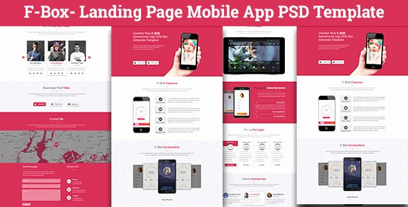 F Box Landing Page Mobile App Psd Template by Codetroopers
