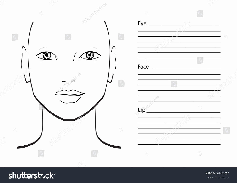 Face Chart Makeup Artist Blank Template Stock Vector