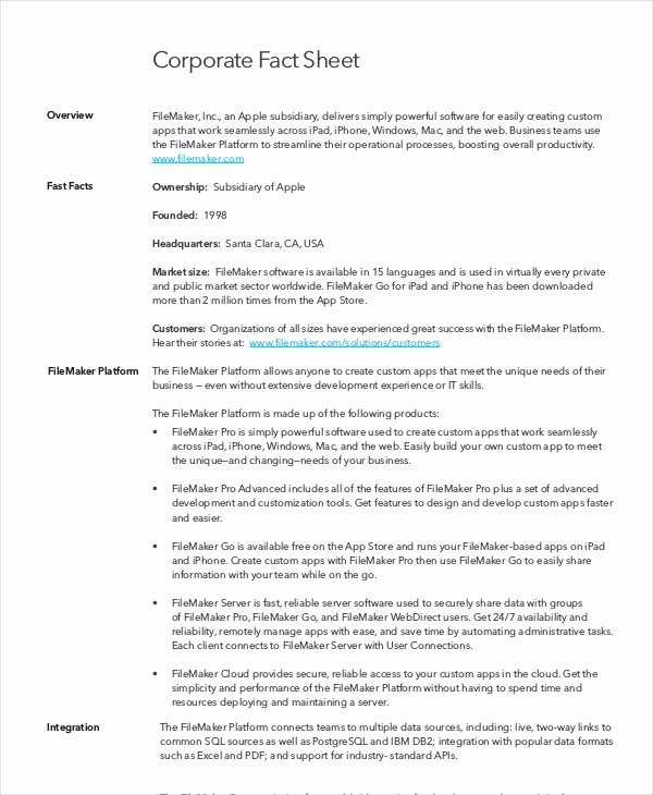 Fact Sheet Template 19 Free Sample Example format