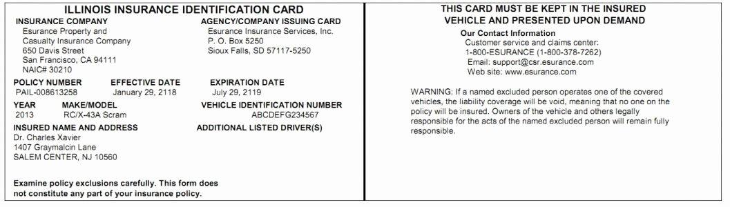 Fake Car Insurance Card Template Invitation Template