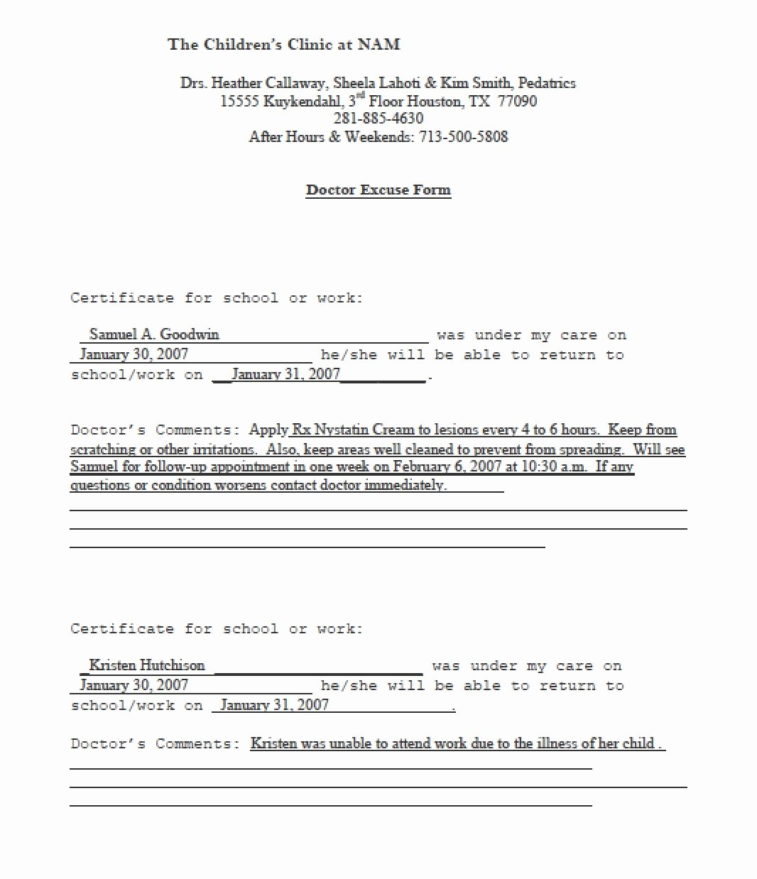 Fake Doctors Note Template
