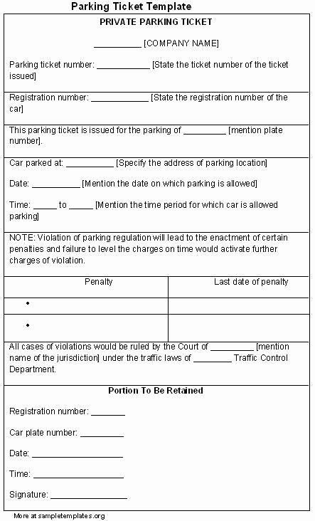 Fake Parking Ticket Printable Free Download the Best