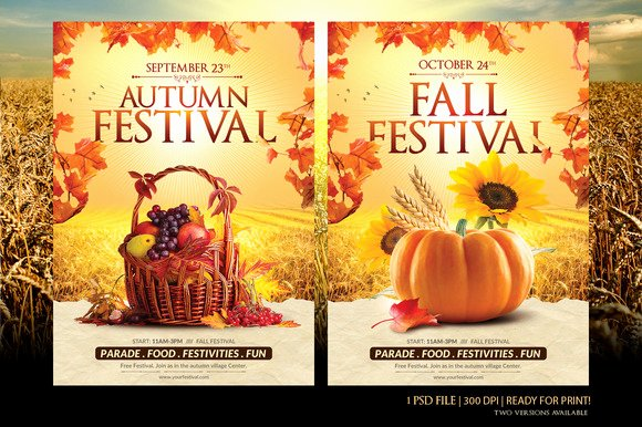 Fall Festival Flyer Template Flyer Templates On Creative