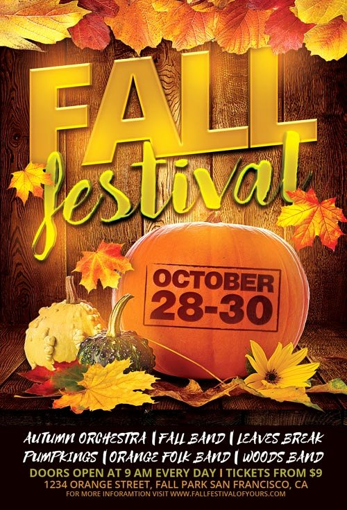 Fall Festival Flyer Template for Shop