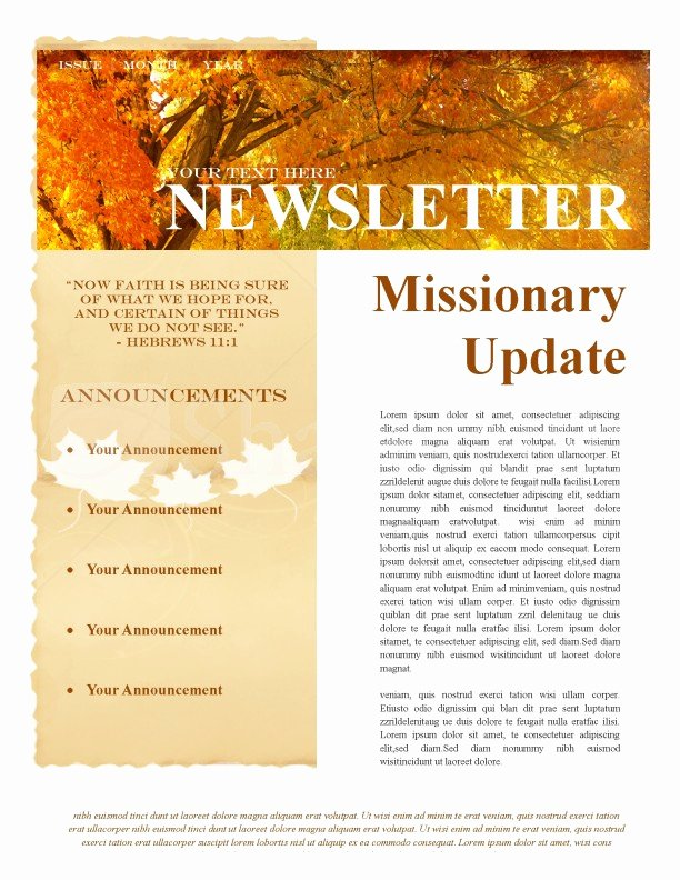 Fall Missionary Update Newsletter Template