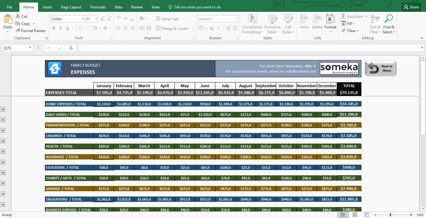 Family Bud Excel Bud Template for Household