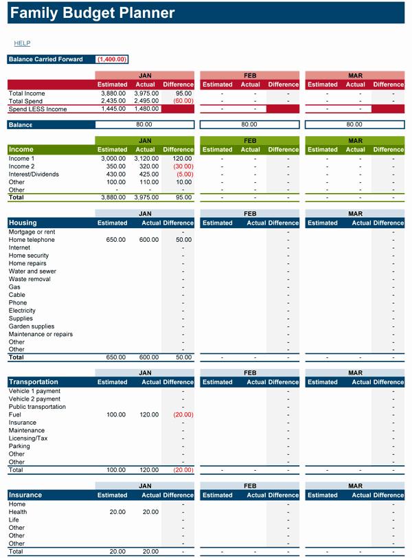 Family Bud Planner Free Bud Spreadsheet for Excel