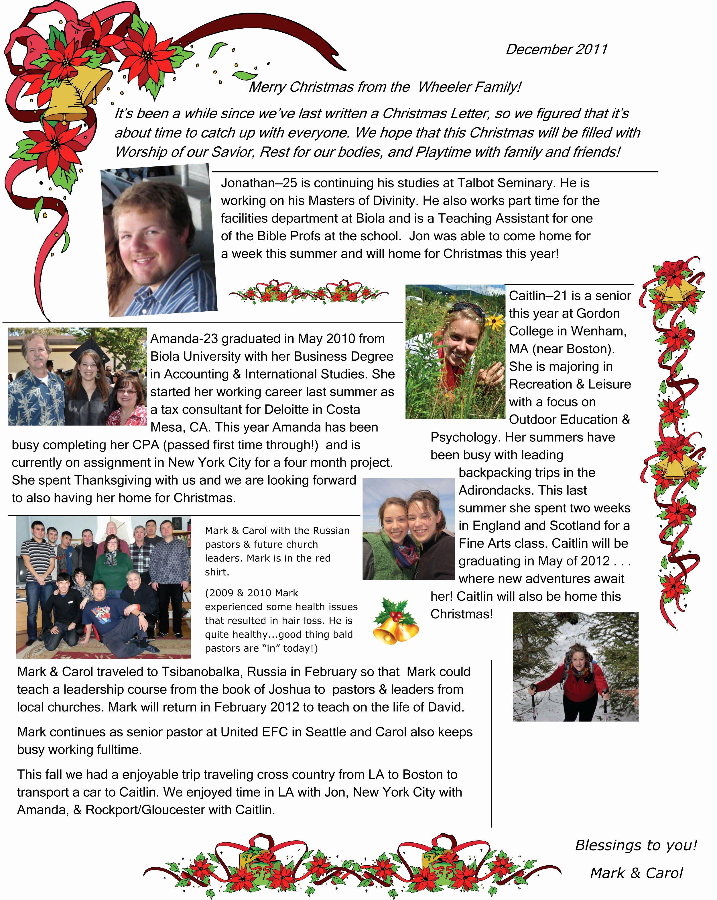 Family Christmas Letter – 2011